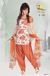 pure cotton dress materials with shiffon dupatta
