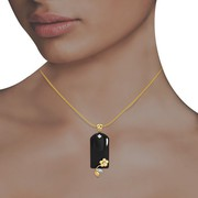 Black onyx Linga designed with golden flower Pendant