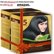 Flat 50% Discount on Nisha Quick Color 60g Pack - Amazon