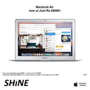 Apple Macbook Air 128 GB Greatest Offer & Flat Discount only at SHINE