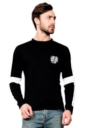 Buy Maniac Mens Fullsleeve Round Neck Black Cotton Tshirt