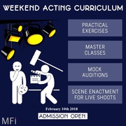 Weekend Acting for Camera Course – 12 Weekends from 10th February 2018