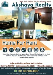 Akshaya Realty presents opulent 2BHK Flats for rent